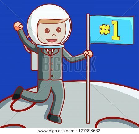 Business man on moon .EPS10 editable vector illustration design