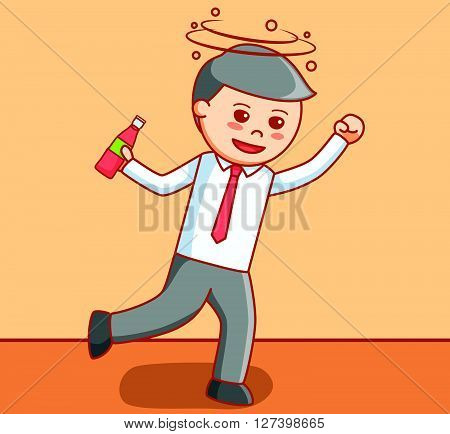 Business man drunk  illustration .EPS10 editable vector illustration design