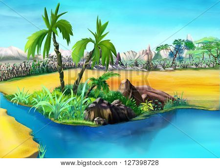 two palm trees in a summer day. Small palm lake oasis.