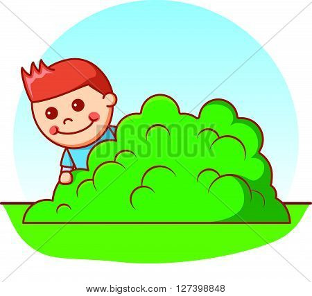 Boy hiding doodle .EPS10 editable vector illustration design