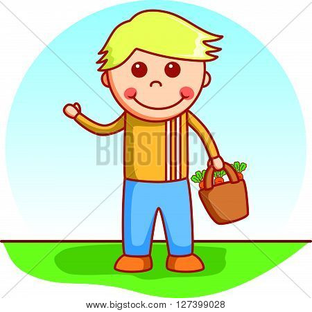Boy bringing doodle .EPS10 editable vector illustration design