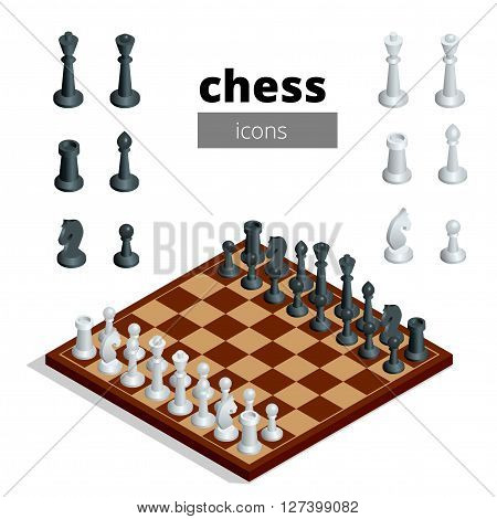 Chess icons. Flat 3d isometric vector illustration. White board with chess figures on it. Intelligent, strategic game