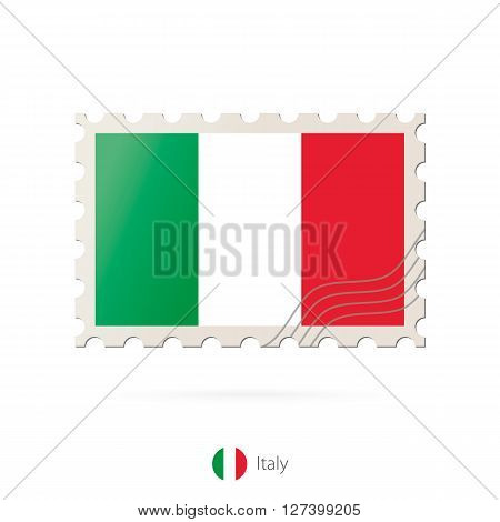 Postage Stamp With The Image Of Italy Flag.