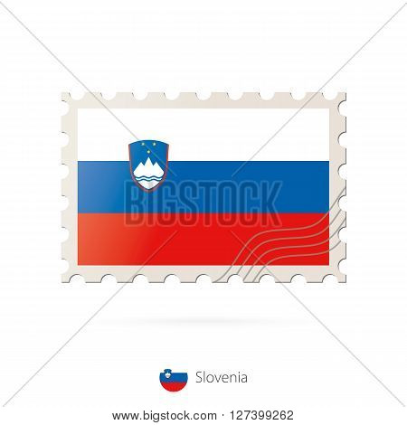 Postage Stamp With The Image Of Slovenia Flag.