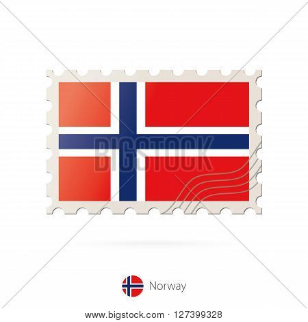 Postage Stamp With The Image Of Norway Flag.