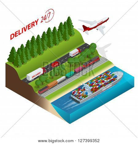 Logistics network.  Aair cargo trucking, rail transportation, maritime shipping, cargo trucs. Ontime delivery. Vehicles designed to carry large numbers cargo. Flat 3d isometric vector illustration
