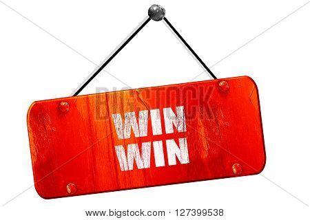 win win, 3D rendering, red grunge vintage sign