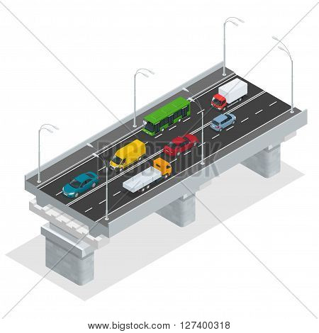 Overpass vector illustration. Elevated road junction and interchange overpass. Flat 3d isometric concept of the city with highways. Road infographics with highways with city transport