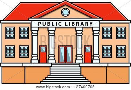 Public library Doodle Illustration cartoon .Eps 10 editable vector Illustration design