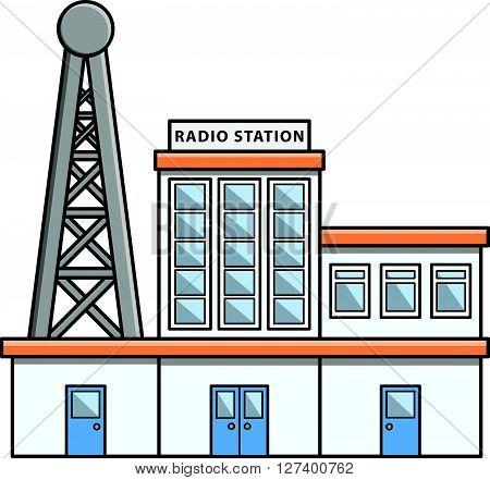Radio station Doodle Illustration cartoon .Eps 10 editable vector Illustration design