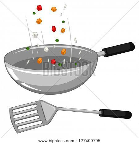 Frying pan and spatula illustration