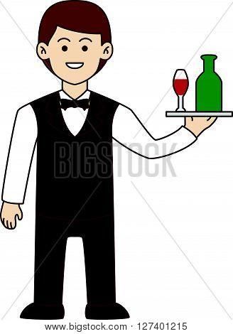 Waiter doodle cartoon .Eps 10 editable vector Illustration design