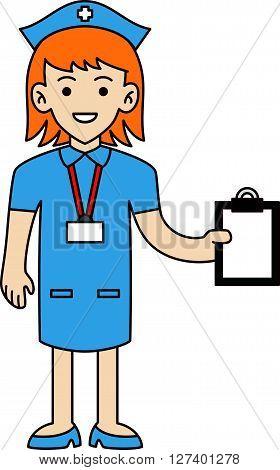 Nurse doodle cartoon illustration .Eps 10 editable vector Illustration design