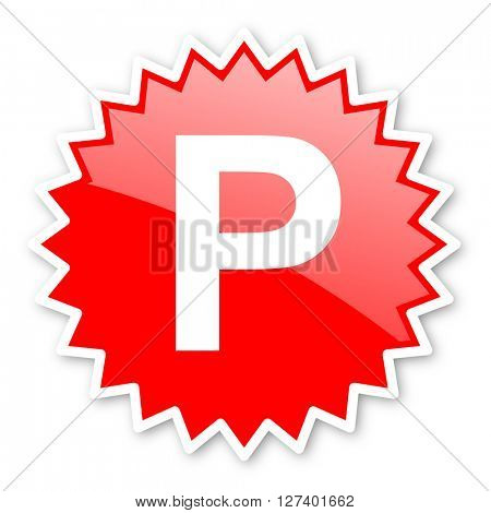 parking red tag, sticker, label, star, stamp, banner, advertising, badge, emblem, web icon