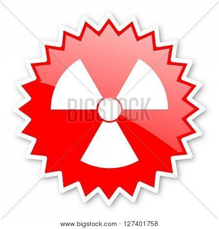 radiation red tag, sticker, label, star, stamp, banner, advertising, badge, emblem, web icon