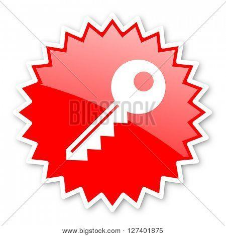 key red tag, sticker, label, star, stamp, banner, advertising, badge, emblem, web icon