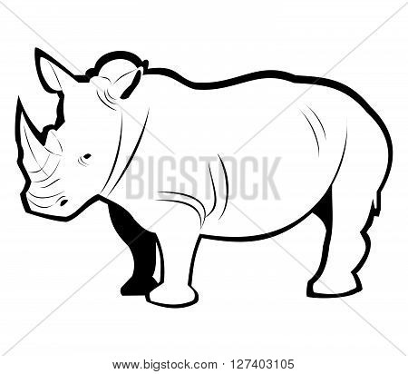 Rhino Outline .Eps 10 editable vector Illustration design