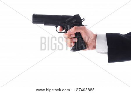 Man holding a pistol on a white background.