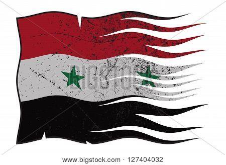 Syria Flag Wavy And Grunged