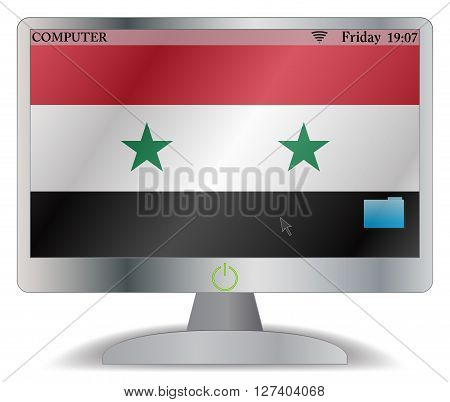 Syria Computer Screen With On Button