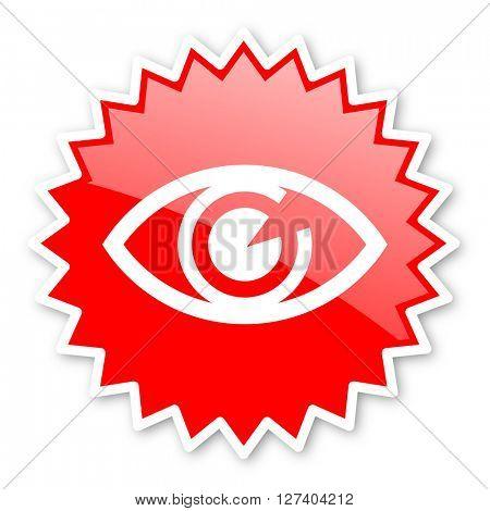 eye red tag, sticker, label, star, stamp, banner, advertising, badge, emblem, web icon