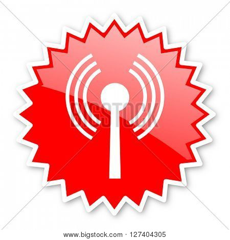 wifi red tag, sticker, label, star, stamp, banner, advertising, badge, emblem, web icon