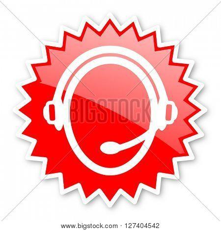 customer service red tag, sticker, label, star, stamp, banner, advertising, badge, emblem, web icon