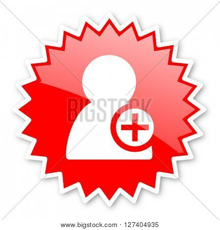 add contact red tag, sticker, label, star, stamp, banner, advertising, badge, emblem, web icon