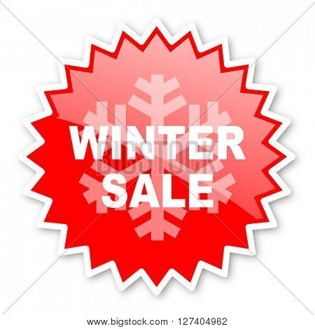 winter sale red tag, sticker, label, star, stamp, banner, advertising, badge, emblem, web icon
