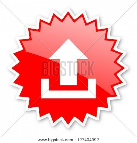 upload red tag, sticker, label, star, stamp, banner, advertising, badge, emblem, web icon