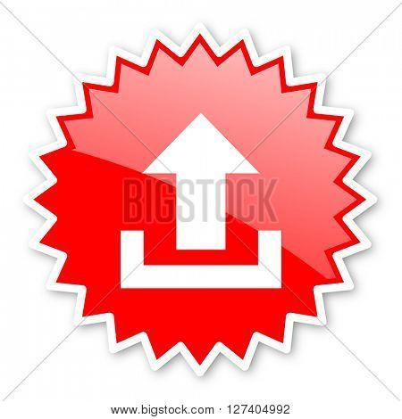 upload red tag, sticker, label, star, stamp, banner, advertising, badge, emblem, web icon