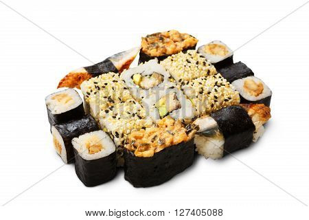 Japanese food restaurant delivery - sushi maki california gunkan and unagi roll plate or platter set isolated at white background