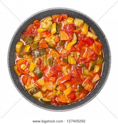 Vegetable ragout. Stewed zucchini tomatoes carrot and pepper.