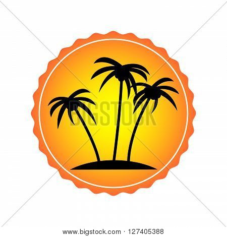 Traveling sticker. Sticker with palm tree for suitcase.