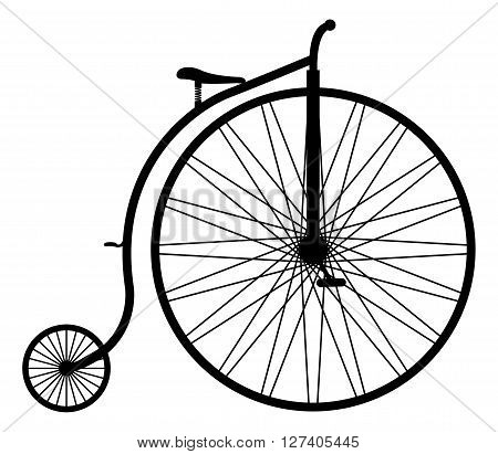 A penny farthing silhouette isolated on a white background