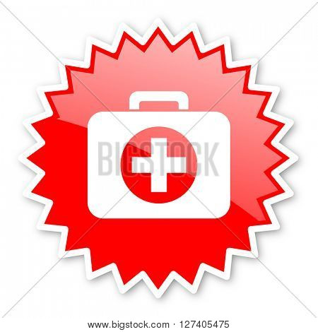 first aid red tag, sticker, label, star, stamp, banner, advertising, badge, emblem, web icon
