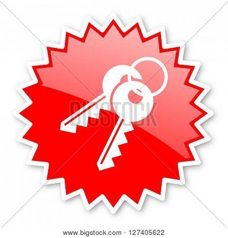 keys red tag, sticker, label, star, stamp, banner, advertising, badge, emblem, web icon