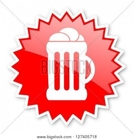 beer red tag, sticker, label, star, stamp, banner, advertising, badge, emblem, web icon