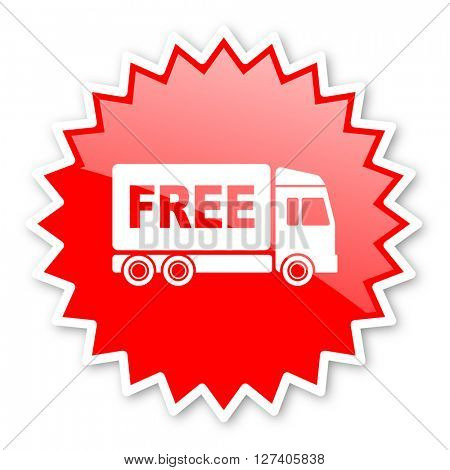 free delivery red tag, sticker, label, star, stamp, banner, advertising, badge, emblem, web icon