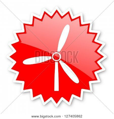 windmill red tag, sticker, label, star, stamp, banner, advertising, badge, emblem, web icon
