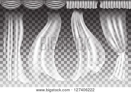 Different shapes curtains on transparent background. Vector illuatration