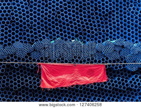 Red Textile For Show Danger Sign For Pvc Pipe