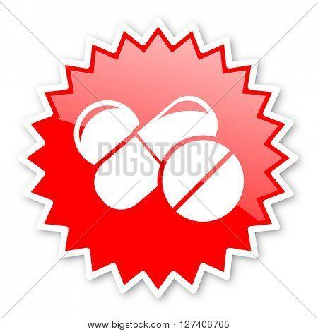 medicine red tag, sticker, label, star, stamp, banner, advertising, badge, emblem, web icon