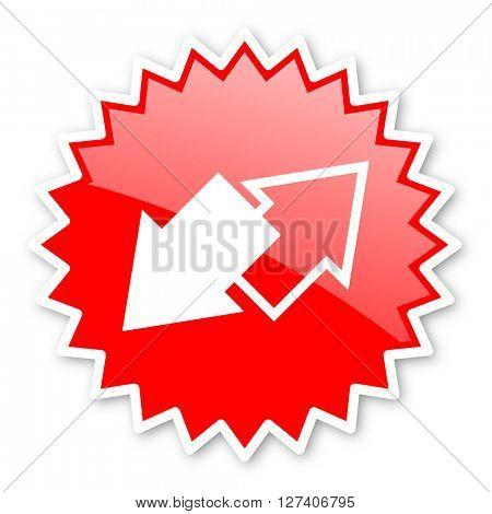 exchange red tag, sticker, label, star, stamp, banner, advertising, badge, emblem, web icon