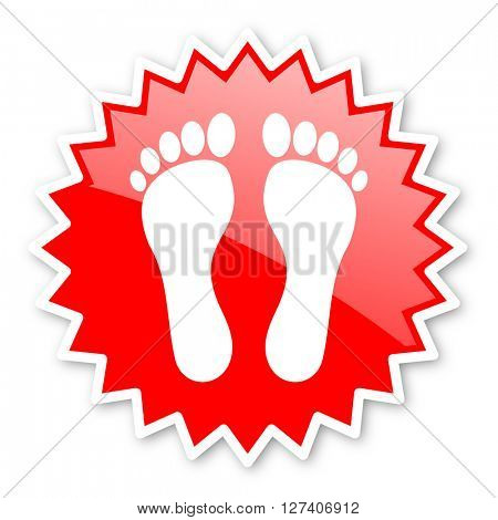 foot red tag, sticker, label, star, stamp, banner, advertising, badge, emblem, web icon