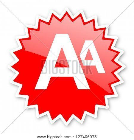 alphabet red tag, sticker, label, star, stamp, banner, advertising, badge, emblem, web icon