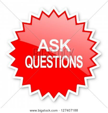 ask questions red tag, sticker, label, star, stamp, banner, advertising, badge, emblem, web icon