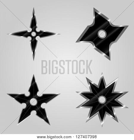 Set of the abstract spiral signs. Ninja spiral signs.