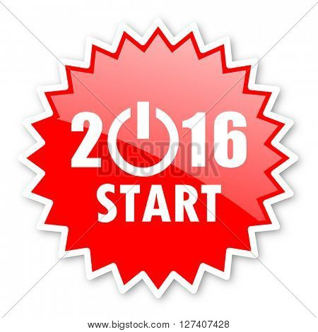 year 2016 red tag, sticker, label, star, stamp, banner, advertising, badge, emblem, web icon