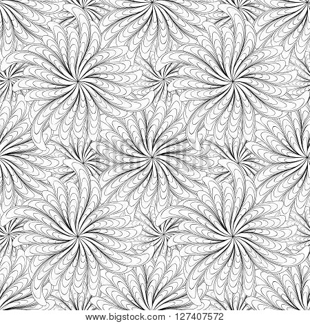 Abstract black and white flowers seamless pattern.